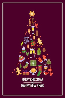 Рождественская елка в форме открытки праздничных зимних элементов на темном фоне. новогодняя праздничная иллюстрация 2021 года с конфетой, пряниками, варежками, подарочными коробками. рождественская открытка ноэль