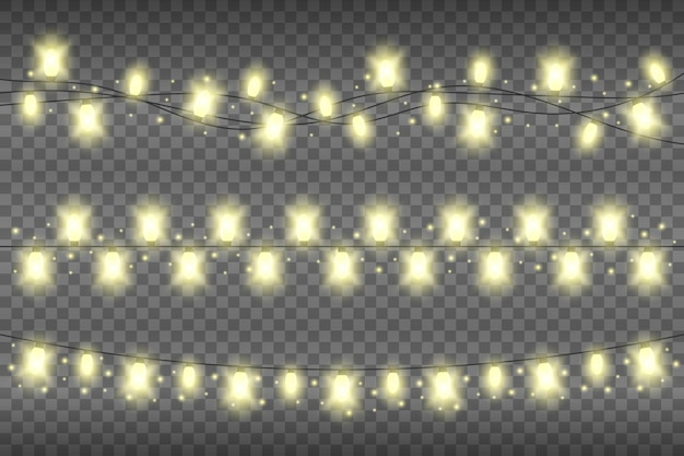 Christmas yellow realistic garland lights on a transparent background. glowing garland lights decoration with sparkles