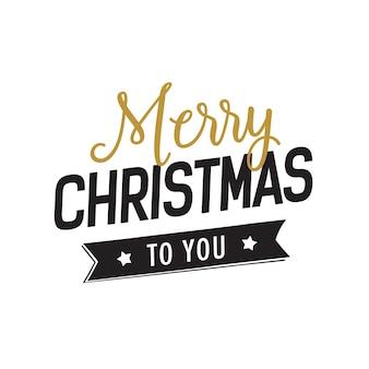 Natale a te lettering con nastro