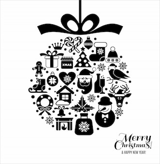Christmass ball of icons