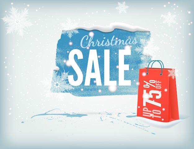 Christmass inky banner with a shopping bag and snowflakes