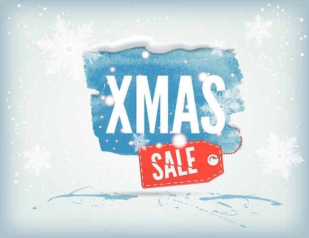 Christmass inky banner with a shopping tag and snowflakes