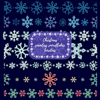 Christmass snowflakes seamless dividers, borders. vector illustration