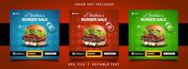 Christmast burger sale social media promotion and instagram banner post template design