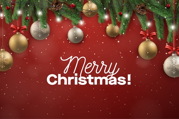 Christmast greeting frame background with ball decoration