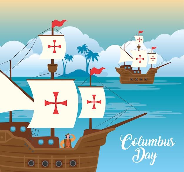 Мультфильм христофора колумба на корабле в море дизайн счастливого дня колумба америка и тема открытий