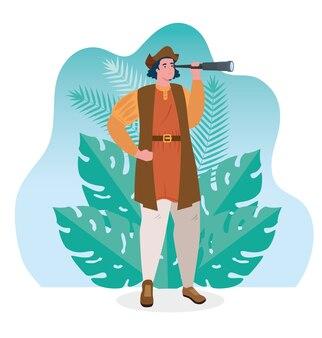 Христофор колумб наблюдает за сценой тропических листьев дизайн векторной иллюстрации
