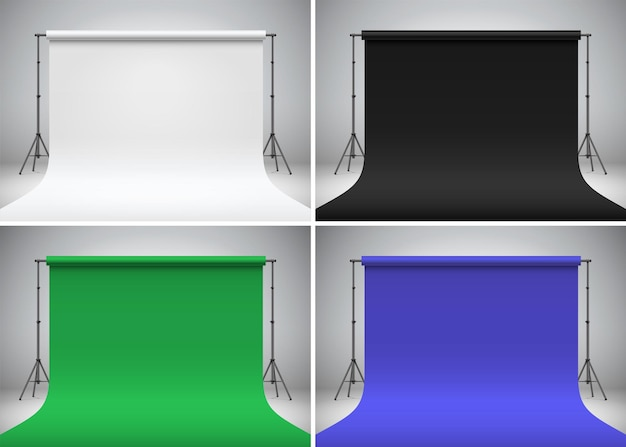 Настройка съемки с хроматическим ключом, стоящая на сером фоне набор разноцветных студийных фонов