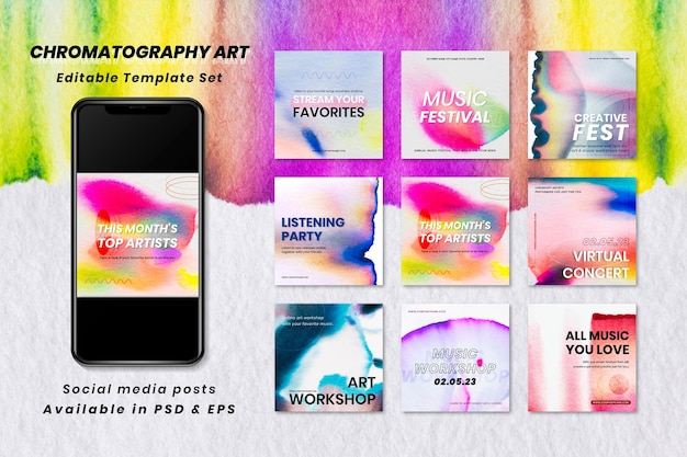 クロマトグラフィーカラフルな音楽テンプレートベクトルイベントソーシャルメディア広告コレクション