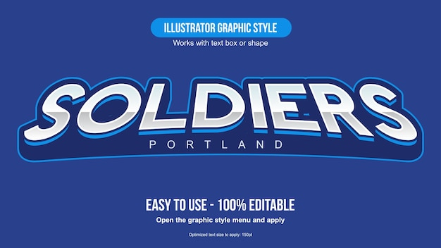 Chrome blue arched sports text effect