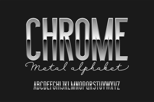 Хромированный современный алфавит. металлический шрифт без засечек. технология типографии серебряными буквами.