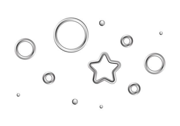 Chrome decorations metallic star circles design elements