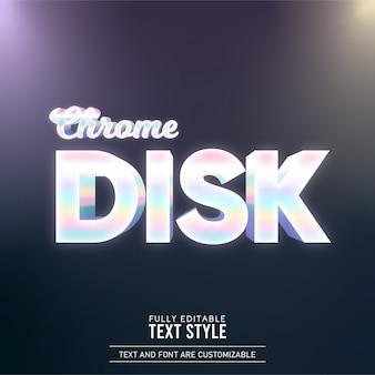 크롬 디스크 무지개 편집 가능한 텍스트 효과