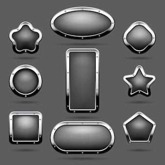 Chrome frames or metal panel buttons with frames vector illustration