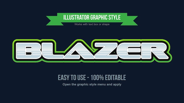 Chrome and green modern game logo editable text style
