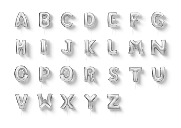 Chrome letters foil balloons alphabet a to z 3d realistic font set.