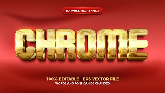 Chrome luxury gold modern 3d editable text effect