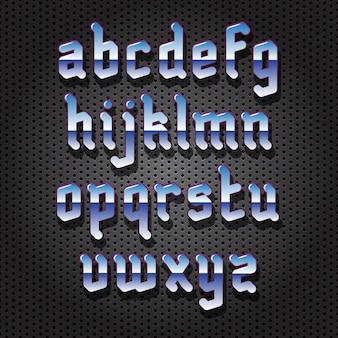 Хромированный металлический шрифт в готическом стиле с тенью на перфорированном фоне
