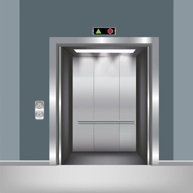 Chrome metal office building elevator doors realistic