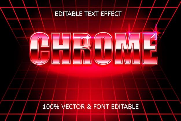 크롬 스타일의 복고풍 80년대 편집 가능한 텍스트 효과