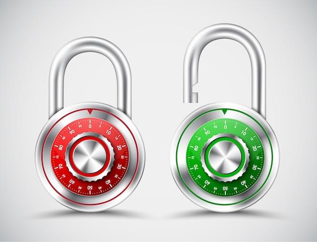 緑と赤の色のクロームメッキの丸い南京錠