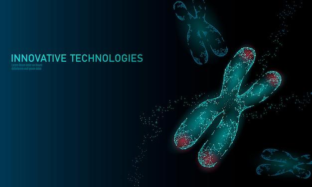 Концепция медицины структуры днк хромосомы. низкополигональная многоугольная теломерная генетическая болезнь старения. гмо инжиниринг crispr cas9 инновации современные технологии наука иллюстрация