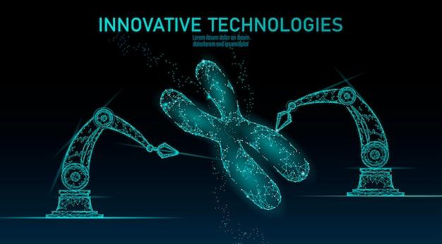 Концепция медицины структуры днк хромосомы. низкополигональная генная терапия полигонального треугольника вылечить генетическое заболевание. гмо инжиниринг crispr cas9 инновации современные технологии наука иллюстрация