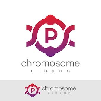 Chromosome initial letter p logo design