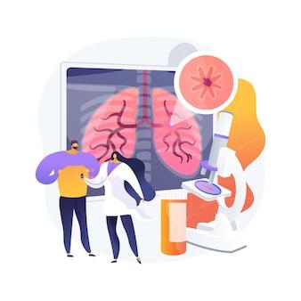 慢性閉塞性肺疾患の抽象的な概念のベクトル図です。閉塞性肺疾患、慢性気管支炎、肺気腫、copd治療、息切れの抽象的な比喩。