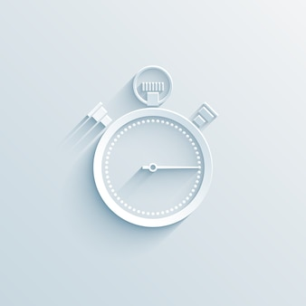 Chronometer paper icon vector illustration on white with shadow business concept