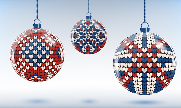 Chrstmas tree baubles with knitting ornament
