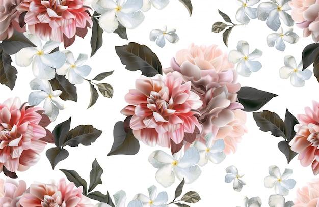 菊とキョウチクトウの花のシームレスパターン