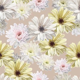 Цветок хризантемы бесшовный фон