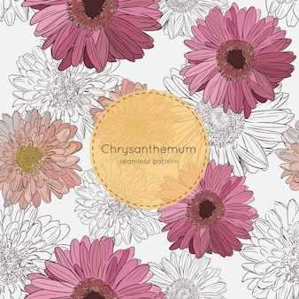 Chrysanthemum flowers, seamless pattern vector.