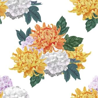 Chrysanthemum flowers seamless pattern