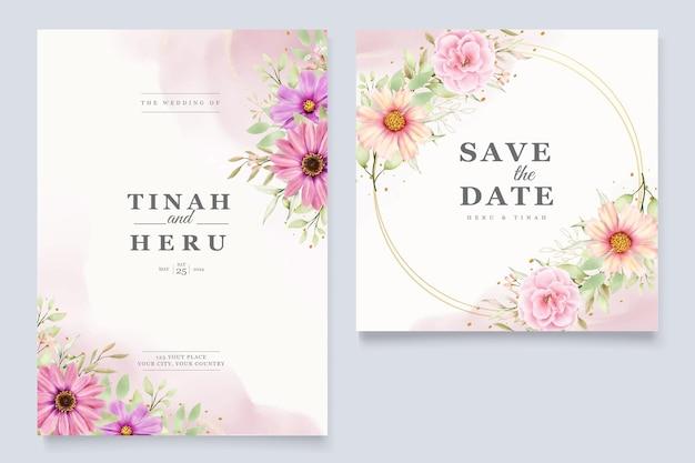 Chrysanthemum wedding invitation card set