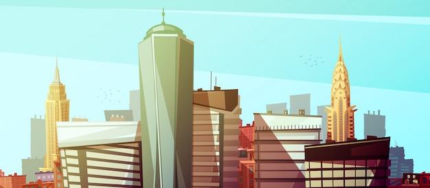 Манхэттенский городской пейзаж с мировым торговым центром chrysler и empire state building