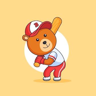 野球のバットでボールを打つ準備ができているぽっちゃり熊