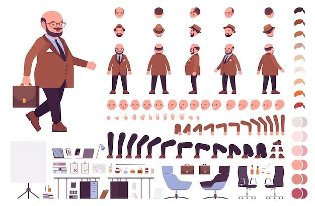 Chubby businessman construction set