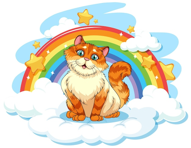 Chubby cat on the cloud with rainbow