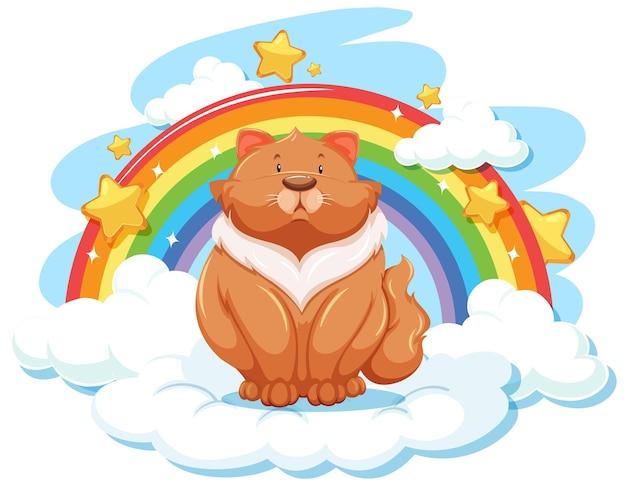 Пухлый кот на облаке с радугой