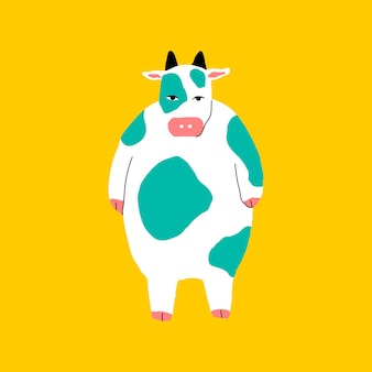 Chubby cow element vector on yellow background