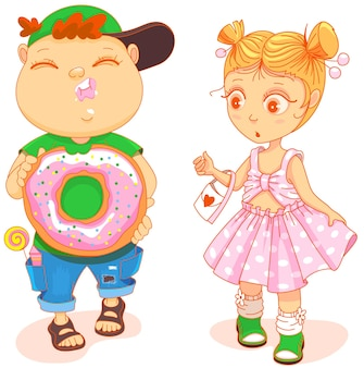 Пухлый милый ребенок ест пончик маленькая милая девочка в красивом платье с удивлением смотрит Premium векторы