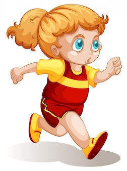 A chubby girl running illustration