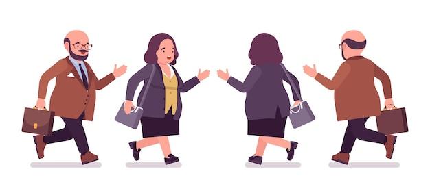 ぽっちゃり重い男と腹が走っている曲線美の女性。太りすぎで太った体型、丸い親切な公務員。ビッグピープルファッション、プラスサイズのフォーマルウェア。ベクトルフラットスタイルの漫画イラスト