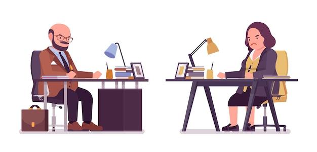 ぽっちゃり重い男と曲線美の女性がオフィスで働いています