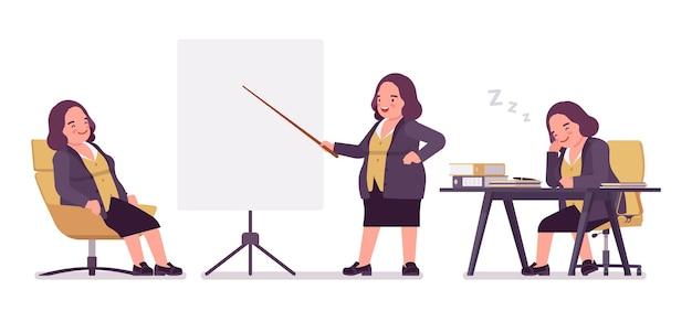 사무실에서 통통한 여자