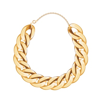 Chunky chain golden metallic necklace or bracelet. personal fashion accessory .