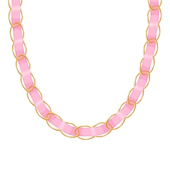 Chunky chain golden metallic necklace or bracelet with blue ribbon. personal fashion accessory .