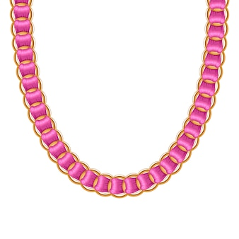 Chunky chain golden metallic necklace or bracelet with pink ribbon. personal fashion accessory .